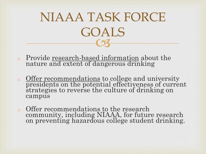 NIAAA TASK FORCE GOALS