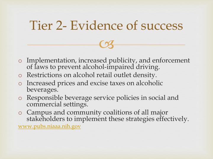 Tier 2- Evidence of success
