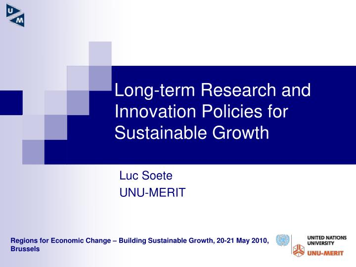 long term research and innovation policies for sustainable growth n.