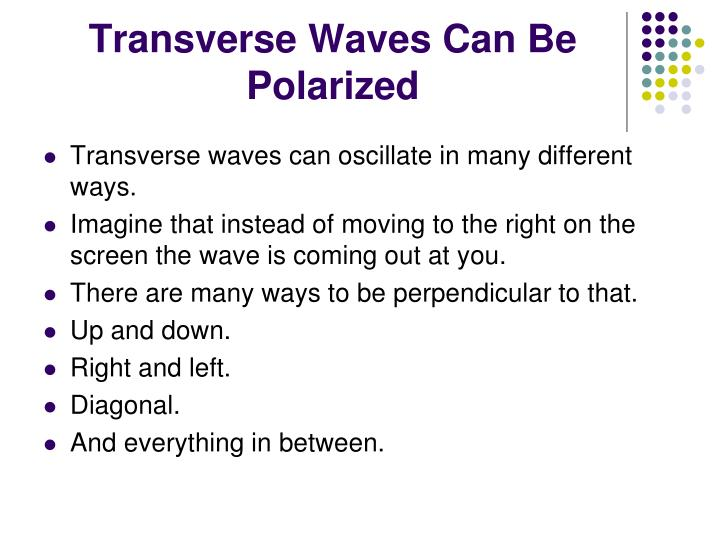 Transverse Waves Can Be Polarized