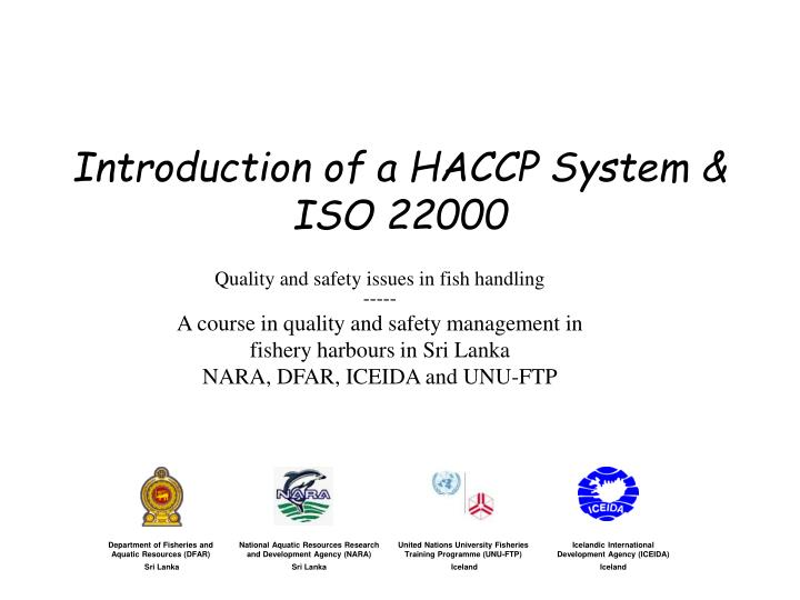 introduction of a haccp system iso 22000 n.
