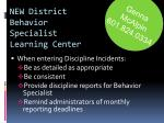 new district behavior specialist learning center