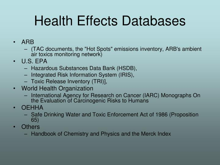 Health Effects Databases