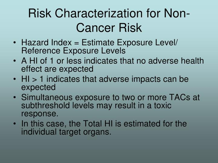 Risk Characterization for Non-Cancer Risk