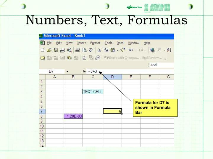Numbers, Text, Formulas