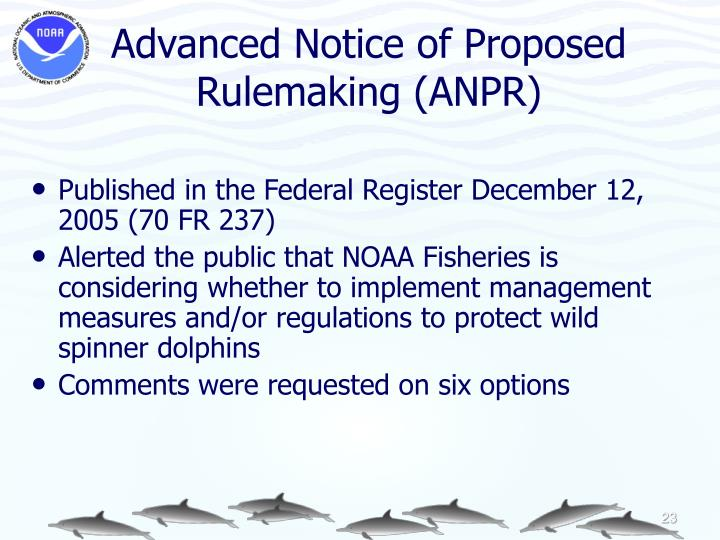 Advanced Notice of Proposed Rulemaking (ANPR)