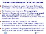 e waste management key decisions
