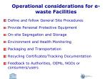 operational considerations for e waste facilities