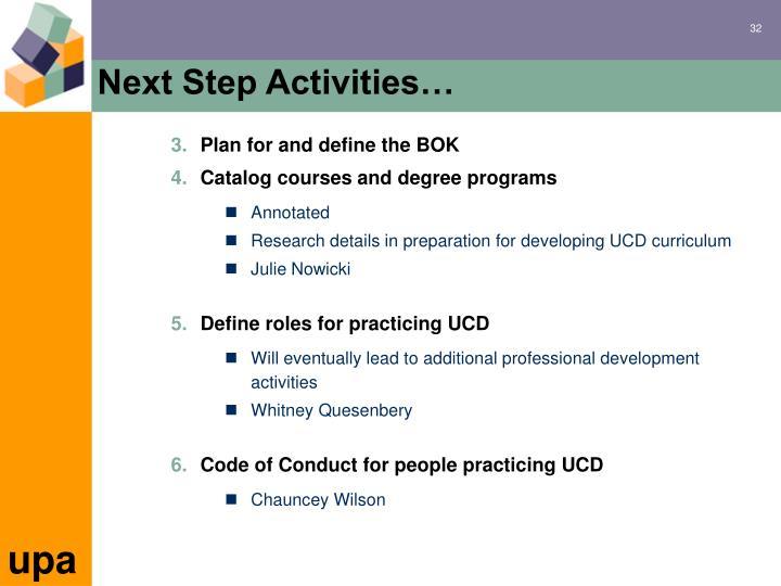 Next Step Activities…