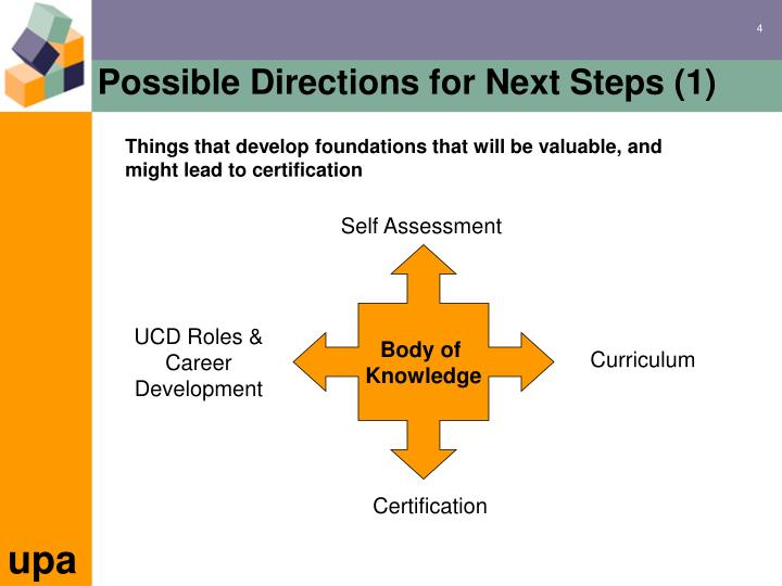 Possible Directions for Next Steps (1)