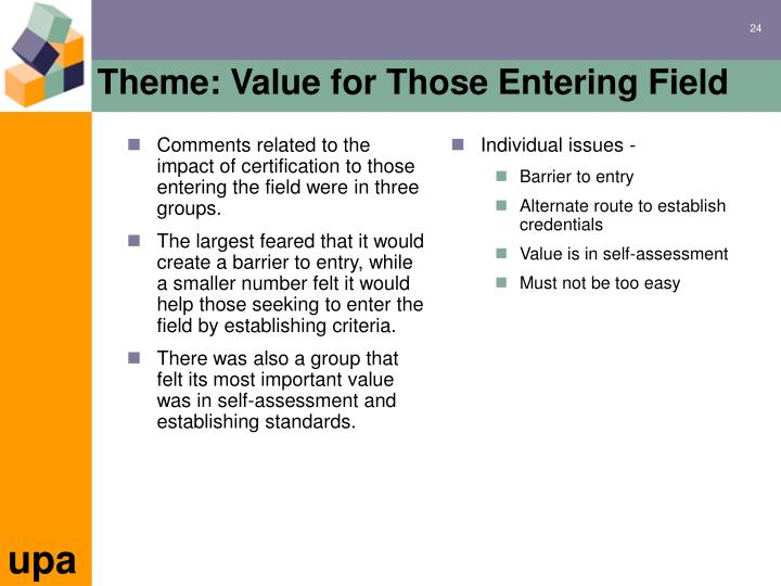 Comments related to the impact of certification to those entering the field were in three groups.