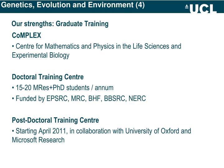 Genetics, Evolution and Environment (4)