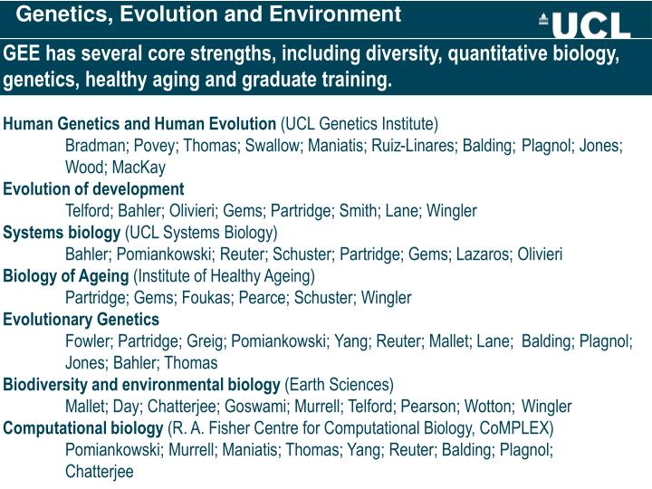 Genetics, Evolution and Environment