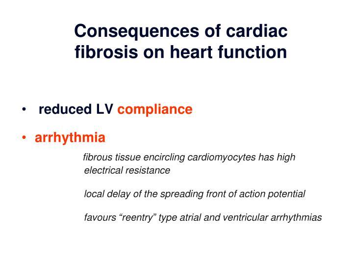 Consequences of cardiac fibrosis on heart function