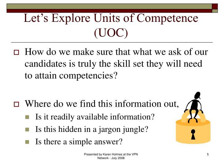 Let's Explore Units of Competence (UOC)