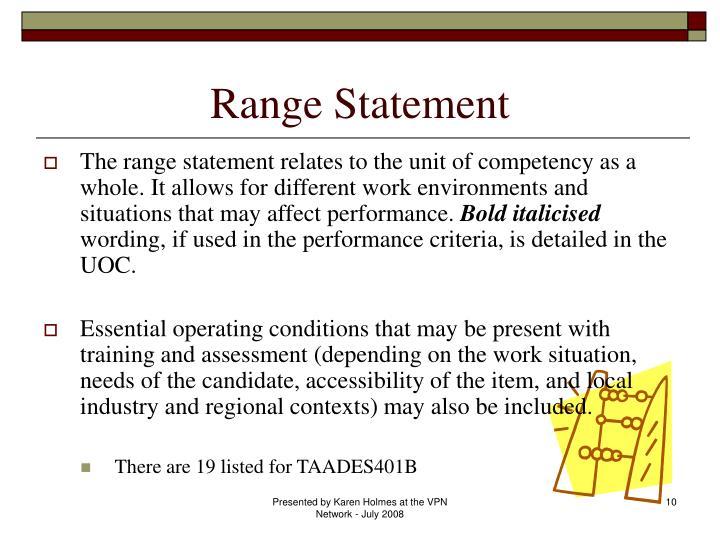 Range Statement