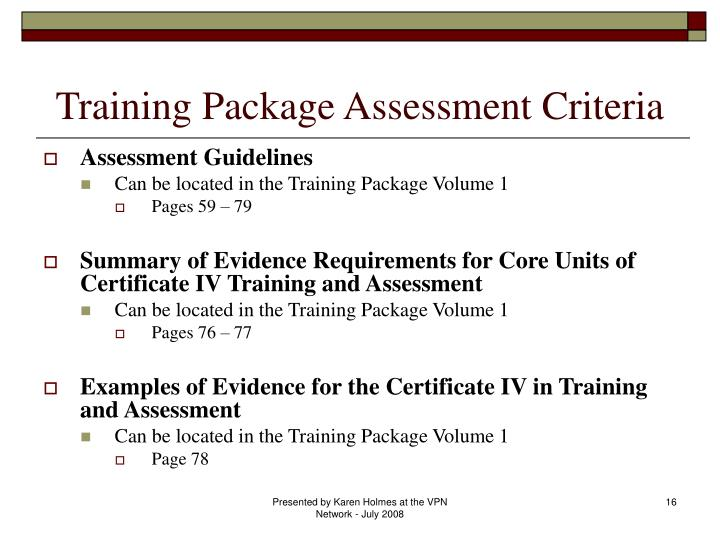 Training Package Assessment Criteria