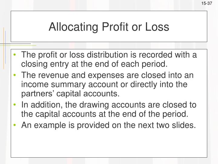 Allocating Profit or Loss