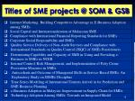 titles of sme projects @ som gsb1