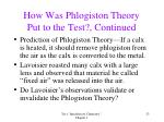 how was phlogiston theory put to the test continued