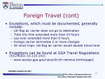 foreign travel cont