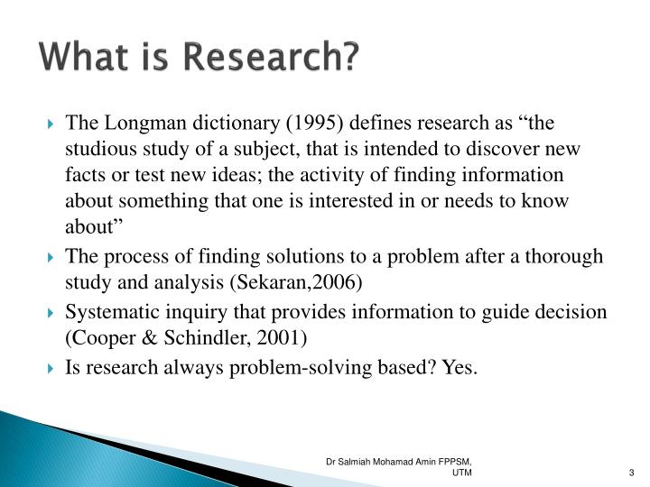 the definition of research is Recent research shows/indicates that the disease is caused in part by bad nutrition the study is an important piece of research  [+] more examples [-] hide examples [+] example sentences [-] hide examples.
