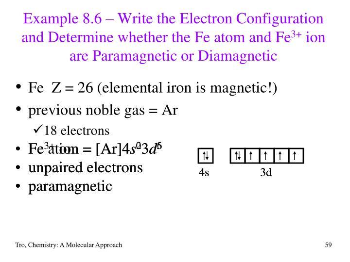 Fe atom = [Ar]4