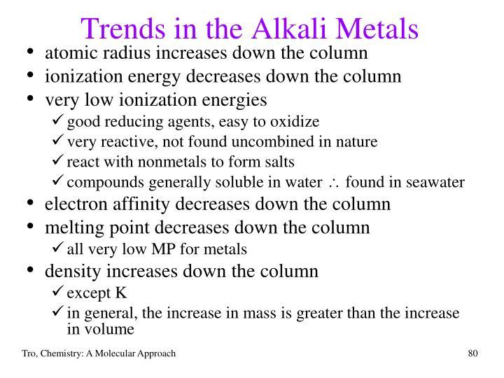 Trends in the Alkali Metals