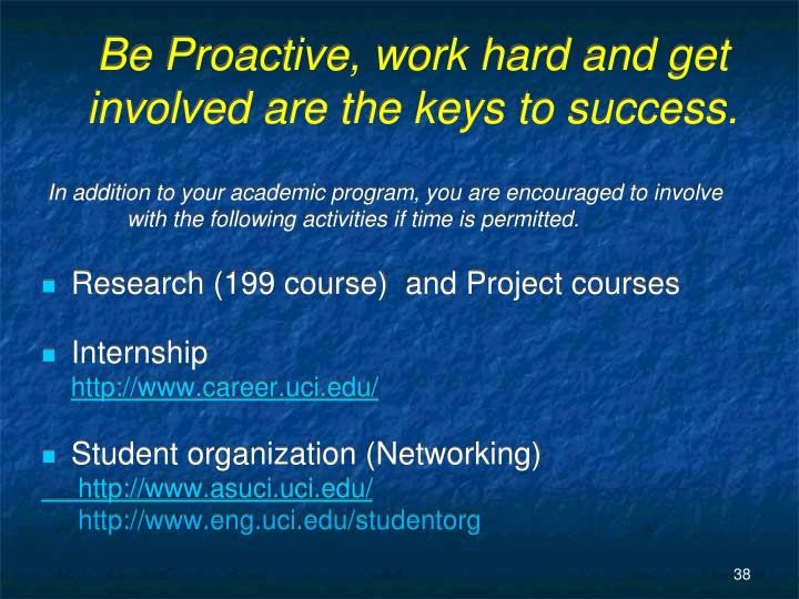 Be Proactive, work hard and get involved are the keys to success.