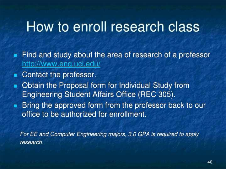 How to enroll research class