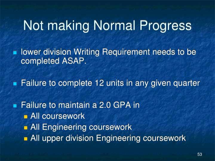 Not making Normal Progress