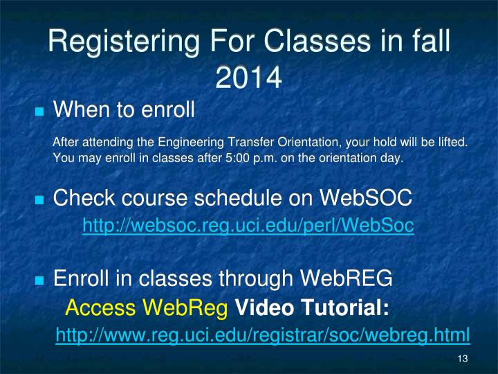 Registering For Classes in fall 2014