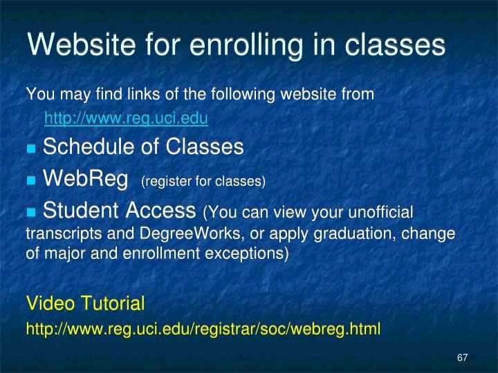 Website for enrolling in classes