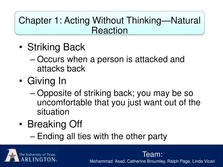 Chapter 1: Acting Without Thinking—Natural Reaction