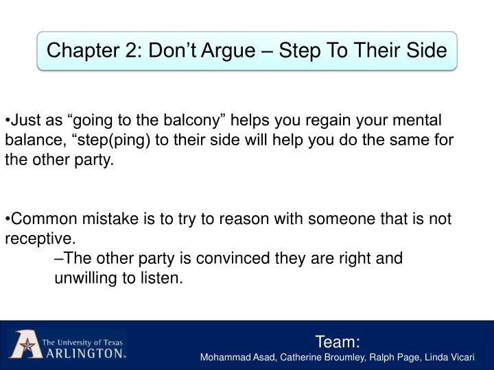 """Just as """"going to the balcony"""" helps you regain your mental balance, """"step(ping) to their side will help you do the same for the other party."""