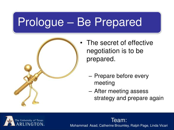 The secret of effective negotiation is to be prepared.