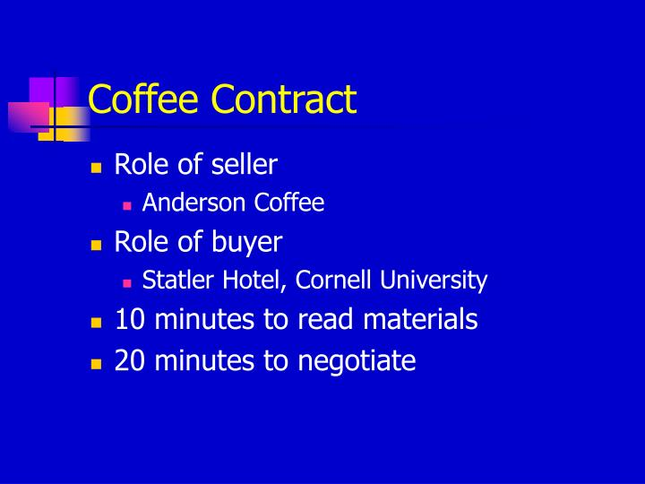 coffee contract n.