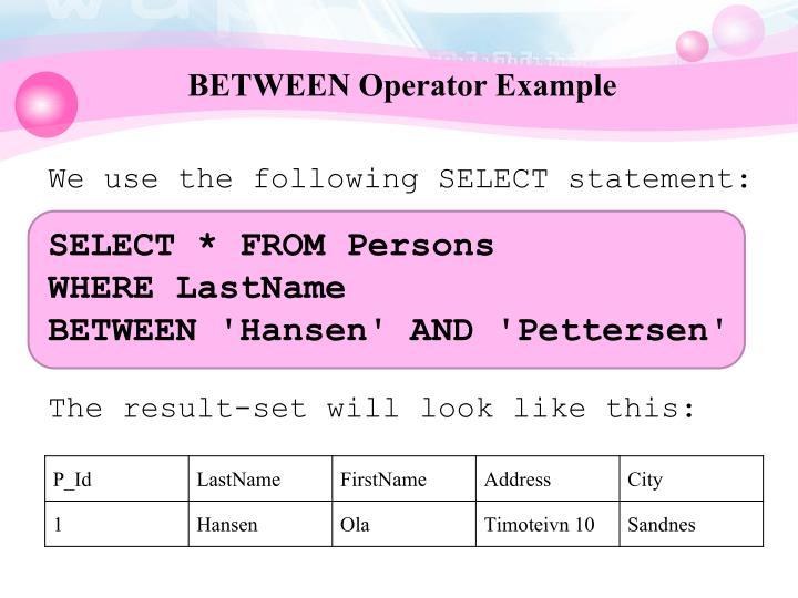BETWEEN Operator Example