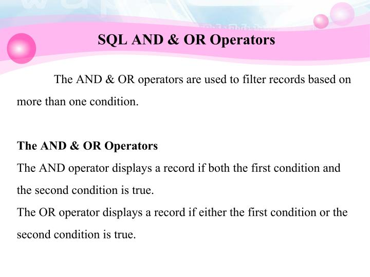 SQL AND & OR Operators