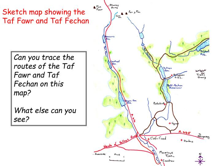 Sketch map showing the Taf Fawr and Taf Fechan