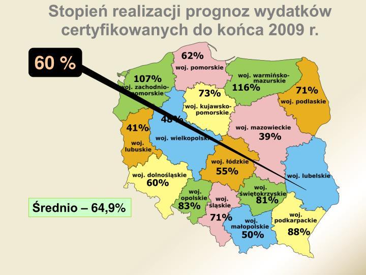 Stopień realizacji prognoz wydatków certyfikowanych do końca 2009 r.