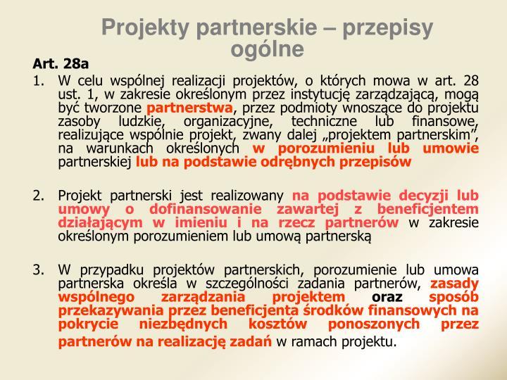 Projekty partnerskie – przepisy ogólne