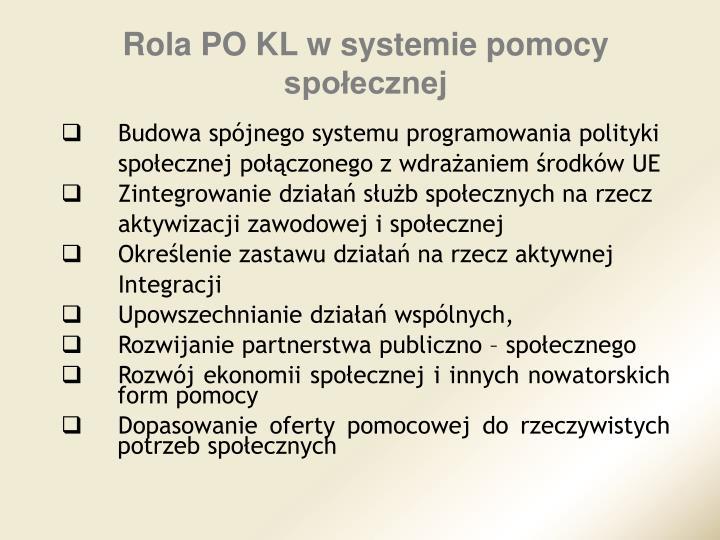 Rola PO KL w systemie pomocy społecznej