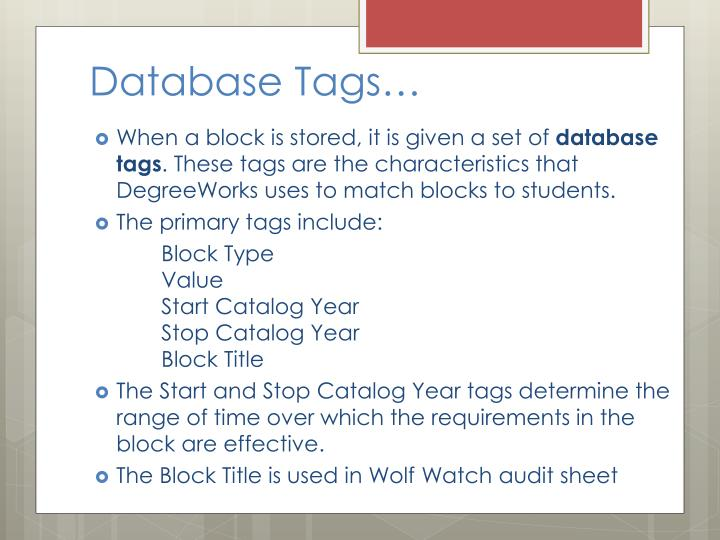 Database Tags…