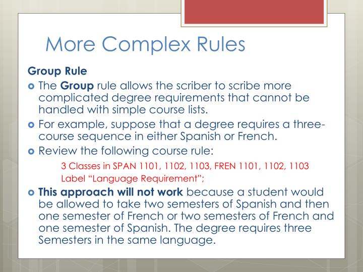 More Complex Rules