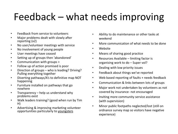 Feedback – what needs improving