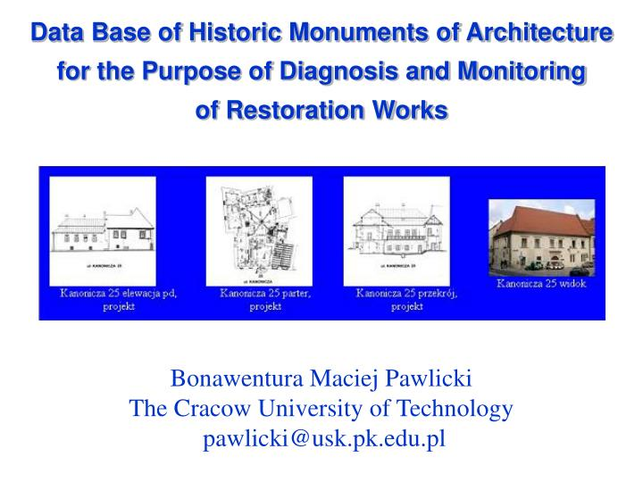 Data Base of Historic Monuments of Architecture