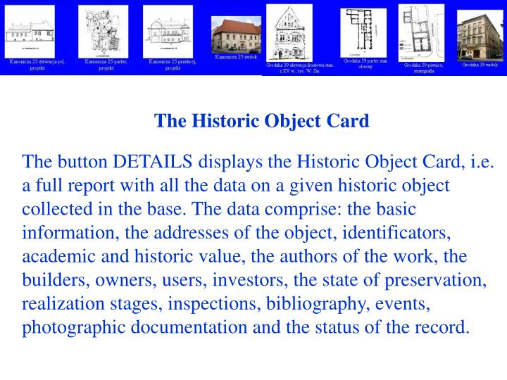 The Historic Object Card