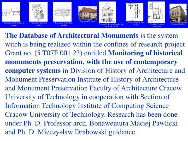 The Database of Architectural Monuments