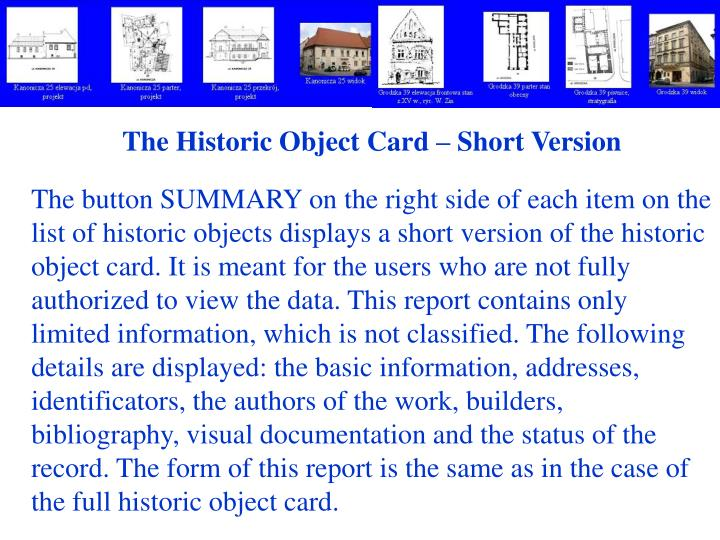 The Historic Object Card – Short Version